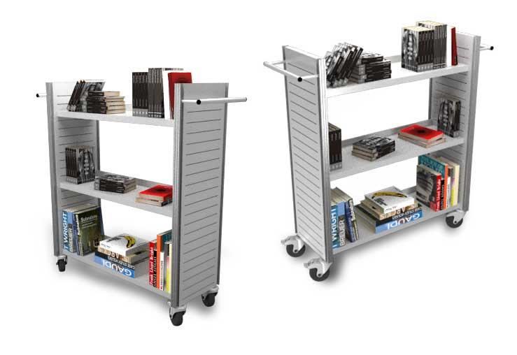 Enkelzijdige boekenwagen metaal