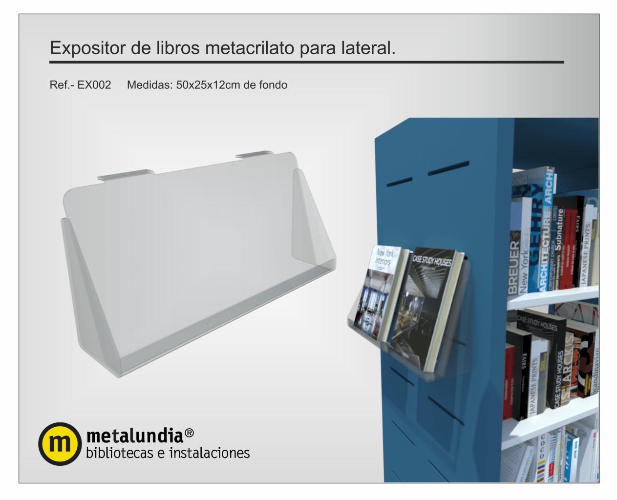 Expositor de libros metacrilato para lateral